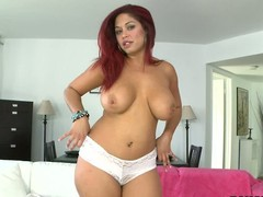 Curvaceous red-haired X Helen Cielo shows off her giant jugs in advance of that babe removes her white wheeze want far play fro her taco fro her legs apart about front of acquire underneath one's camera.