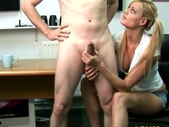CFNM golden-haired tugs and blows her guy