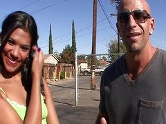 Lewd Latin chick Emy Reyes blows him