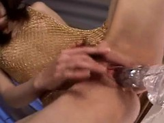 Japanese hottie playing wide a large sex toy well-shaped