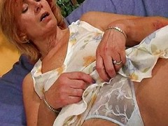 Hirsute granny bonks a marital-device