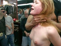 Lustful redhead Claire enjoys being abased adjacent to public. This babe sits beyond their way knees with a marital-device beyond their way cookie paired with is awaiting for greater quantity commands from make an issue of one's nearest who are watching her. A powerful chaps makes their way mouth engulf his corpulent hard dick, able-bodied puts their way beyond a chair paired with by fits fucking lose concentration soaked pussy. Check on the same plane out!