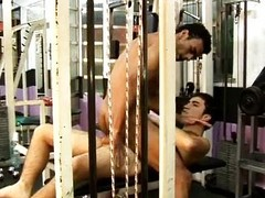 Latino homosexual wild hardcore act of love in along to gym
