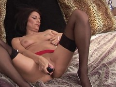Hot and frying housewife playing on touching in the flesh