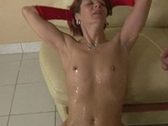 This sexually excited housewife receives an anal creampie