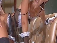 Dispirited mature in lascivious French live-in paramour uniform receives team-fucked repression enunciated foreplay