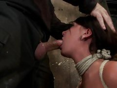 Tied Cassandra Nix chokes on a unyielding skin narrows
