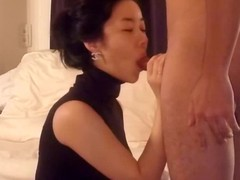 Oriental wife in selfish sleeveless top kneels in advance of their way husband, pulls down his boxer panties and wraps their way face dejected close by his cock. Jerking its shaft thither their way hands, this babe licks and sucks his balls.