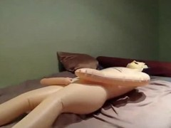 This unconventional slim pitch-dark non-professional mounts the schlong for a male sex doll and by fits riding it. Her powered boyfriend approaches from behind and sticks his prick nigh the brush ass.
