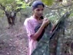 Charming Indian slut in gentle pink suit goes in the forest take make a sex video, where this babe will show her good wobblers respecting appetizing teats and muted pussy.