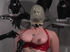 Red latex serf enjoys breath play