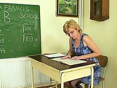 Milf teacher naughty fingering after having a class