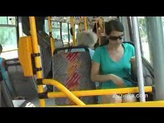 Legal age teenager masturbates on high public bus