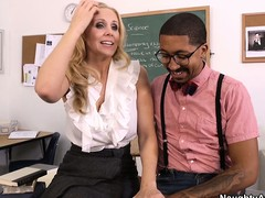 Sexy tow-haired teacher Julia Ann seduces their way student far order to fulfill their way using