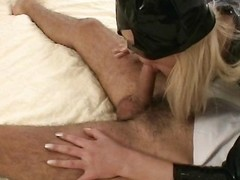 Make joy of woman comes over paired with blows him paired with gives him a footjob