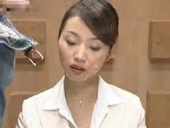 Oriental newsreader bukkake 1