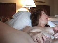 Slutty older wife anal masturbating