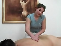 Topless massage acquires client off