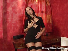 flirty brunette hair office sweetheart