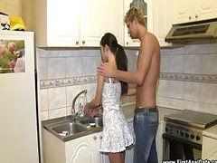 Hot Brunette hair Full Body Workout In Kitchen