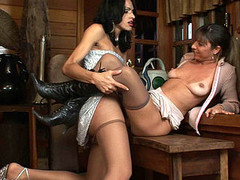 Breathtaking scoring with well-hung tranny and sexually excited sweetheart in silky tights