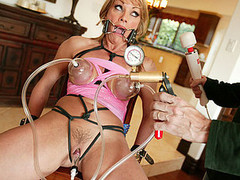 Shayla Laveaux takes time away from her family to go off and fulfill her fantasies as a total fucking whore! This busty blonde and sexually thrived mother I'd like to fuck has an urgency to satisfy her servitude curiosity. We thong in a spider gag in her face hole and tie her up with dark rope, busting out her giant pointer sisters and begging for more, we hooked up these hard teats to a hardly any sucction hoses and pumped up the pressure on her clitoris. This Chick squirms and shakes and acquires a giant load in her face hole after getting bound up and screwed hard...