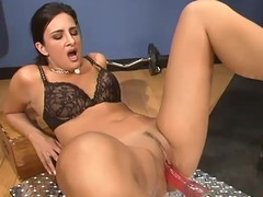 Ava Ramon receives gratified by a fucking machine in a gym