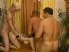Concupiscent aged lady is undressed with 3 bisexuals