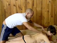 Older little one enjoys rub down and acquires drilled in a sauna
