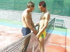 Tennis court homosexual penis engulfing is spicy