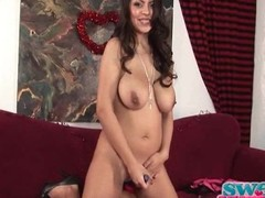 Yurizan Beltran caresses her broad in the beam blue bazookas