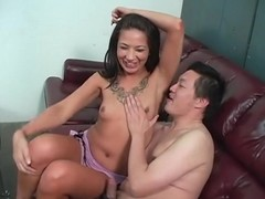Oriental man licks their way armpits with excitement