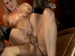 Slippery blond drilled in fishnet haunch highs