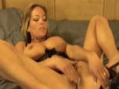 Unaccompanied twat toying with breasty blond mama