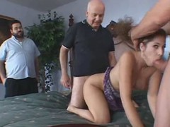 Depraved wife receives group-fucked in dissimulate of the brush spouse