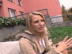 Unassuming sweetheart enjoys getting gangbanged in public
