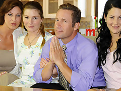 Inspect a quick prayer, this mormon bonks his three wifes.