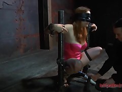 Chained around playgirl gets doggystyle plowing from tormentor