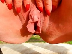 My big clitoris and big labia in my garden...