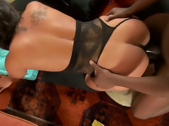Chubby amateur hotie pounded hard by a large black dick
