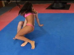 Melanie Memphis wrestles along to brush slave to along to ground
